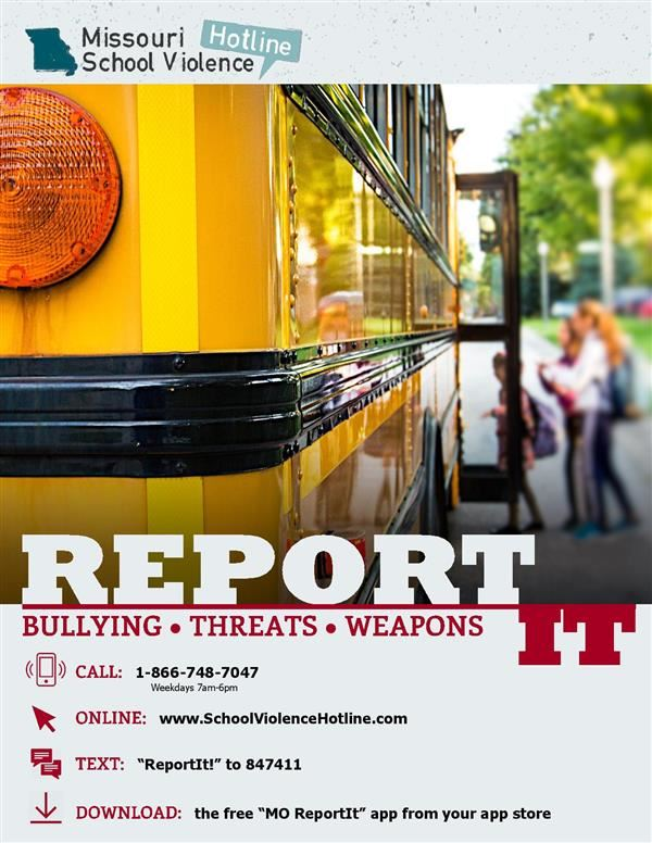 MO School Violence Hotline flier