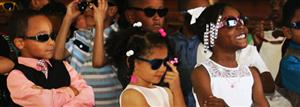 kindergartners with sunglasses at promotion ceremony