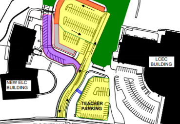 map of early learning center, lucas parking lots